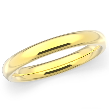10K Solid Yellow Gold 3mm Plain Men's and Women's Wedding Band -