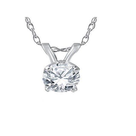 1/2ct Solitaire Round Diamond White Gold New Pendant Womens (White Gold Solitaire Necklace)