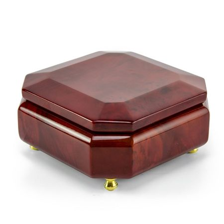 Astonishing Beveled Octagonal Wood Classic Style Music Jewelry Box - Beauty and the Beast