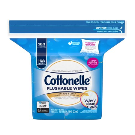 Cottonelle FreshCare Flushable Wet Wipes Resealable Refill Pack, 168 Cleansing Cloths