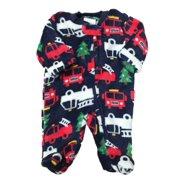 Infant Boys Christmas Tree Firetruck Fleece Pajama Sleeper Holiday Sleep    Play 2185d76db
