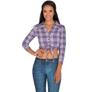 467b7aaf2ba s p women s blue red yarn dye plaid button up collared crop tops tied front