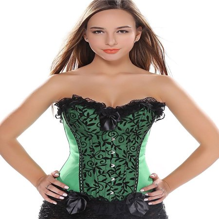 SAYFUT Sexy Black Floral Lace Trim Overbust Corset Girdle For Women Waist Cincher Bustier Body Shaper