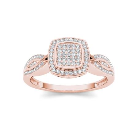1/4Ct TDW Diamond Cushion Shape Cluster Halo Twist Shank 10K Rose Gold Engagement Ring (White Diamond Twist Ring)