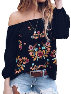 Starvnc Women Off the Shoulder Long Sleeve Floral Shirt Tops