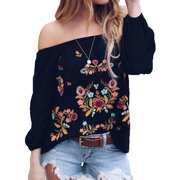 04f0a5314fef86 Starvnc Women Off the Shoulder Long Sleeve Floral Shirt Tops