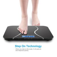 Zimtown 180kg/396lb Digital Bathroom Scale Toughened Glass Electronic Weight Scale Black