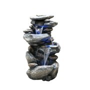 Alpine Four Tiered Rock Fountain with LED Lights, 40 Inch Tall