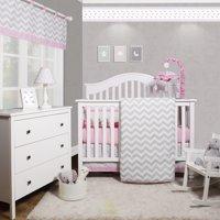 OptimaBaby Pink Grey Chevron 6 Piece Baby Girl Nursery Crib Bedding Set