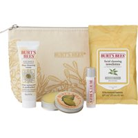 Burt's Bees Essentials Travel Kit Gift Set, 4 Skin Care Products - Cleansing Towelettes, Deep Cleansing Cream, Cuticle Cream and Lip Balm