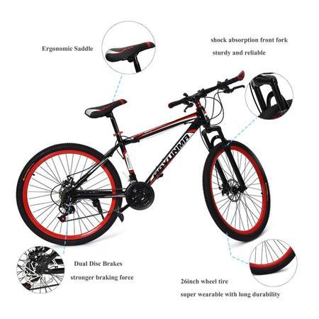 WALFRONT 26inch 21 Speed Dual Disc Brake Damping Mountain Bike Adults Teenagers, Bicycle,Mountain Bike