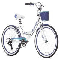 "Kent 24"" Girls', Bayside Multi-Speed Bike, White/Purple, For Ages 12 and Up"