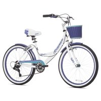 "Kent 24"" Girls', Bayside Multi-Speed Bike, White/Purple, For Ages 12+"