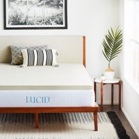 "Lucid 2"" Ventilated Plush Memory Foam Mattress Topper, Multiple Sizes"