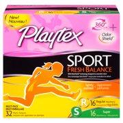 Playtex Sport Fresh Balance Tampons Multi-Pack (Regular/Super), 32 Ct