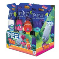 PEZ Candy Trolls Assortment, candy dispenser plus 2 rolls of assorted fruit candy, box of 12