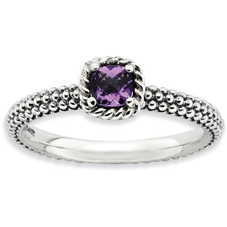 Checker-Cut Amethyst Sterling Silver Antiqued Ring (Antique Amethyst Ring)