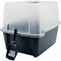 Iris Hooded Cat Litter Box with Grate and Scoop, Navy