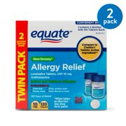 Equate Non-Drowsy Allergy Relief Loratadine Tablets, 60ct, 2 Pack