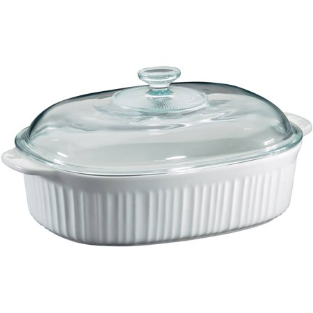 Corningware French White 4 Quart Oval Casserole with Glass (Ceramic Steel Casserole)