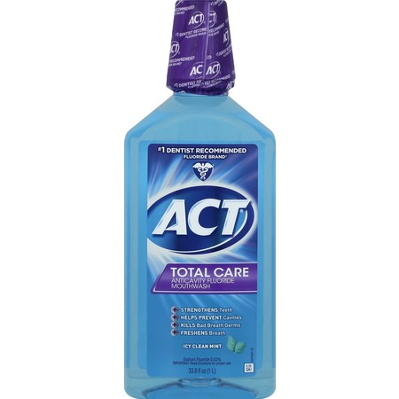 ACT® Total Care Anticavity Fluoride Icy Clean Mint Mouthwash, 33.8oz ()
