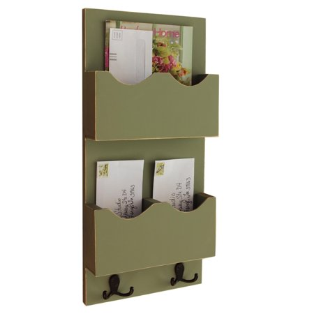 Tall Mail Organizer with two mail slots - One Divided Slot and One Large Slot with Key Hooks - Opening Standard Mail Slot