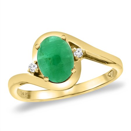 - 14K Yellow Gold Diamond Natural Cabochon Emerald Bypass Engagement Ring Oval 8x6 mm, size 5