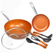 Shineuri 7 Pcs Nonstick Ceramic Cookware Set Copper Fry Pans And Cooking Utensil Induction