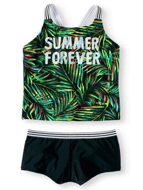 Summer Forever Palm Print Tankini Swimsuit (Little Girls, Big Girls & Big Girls Plus)