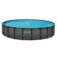 """Summer Waves Elite 22' x 52"""" Premium Frame Above Ground Swimming Pool with Dark Wicker Print, Filter Pump System And Deluxe Accessory Set"""