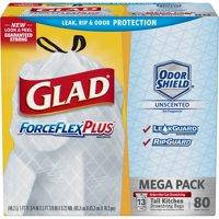 Glad Tall Kitchen Drawstring Trash Bags - ForceFlexPlus 13 gal White Trash Bag,  OdorShield - 80 ct