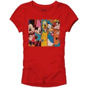 56decf314 Disney Mickey Minnie Mouse Pluto Donald Duck Goofy Panels World Disneyland  Funny Women's Juniors Slim Fit