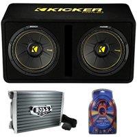 """Kicker 44DCWC122 12"""" 1200W Car Audio Subwoofer Sub Enclosure+Mono Amplifier Amp"""