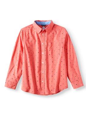 Long Sleeve Stretch Geometric Button Up Shirt (Little Boys, Big Boys, & Husky)