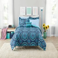 Mainstays Jessica Medallion Queen Bed in a Bag Coordinating Bedding Set