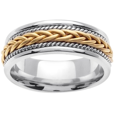 18K Two Tone Gold French Braid Handmade Comfort Fit Women's Wedding Band (7mm) ()