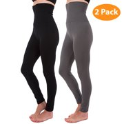2-Pack Plus Size High Waist Tummy Control Full Length Legging Compression Top Pants Fleece Lined XL 2XL