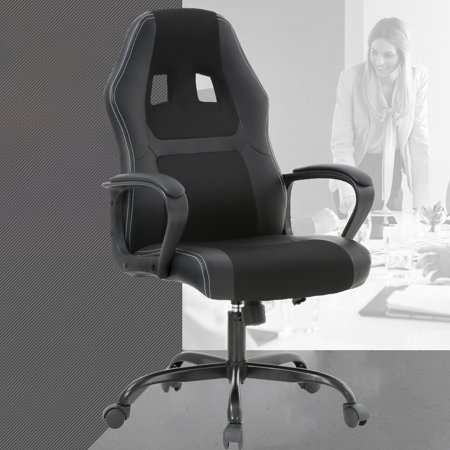 Gaming Chair Office Desk Gaming Chair Racing Ergonomic Computer Chair With Lumbar Support Mesh Seat Metal Swivel Rolling Chair Executive PU Leather Chair For Women, (Leather Chair Swivel White Seat)
