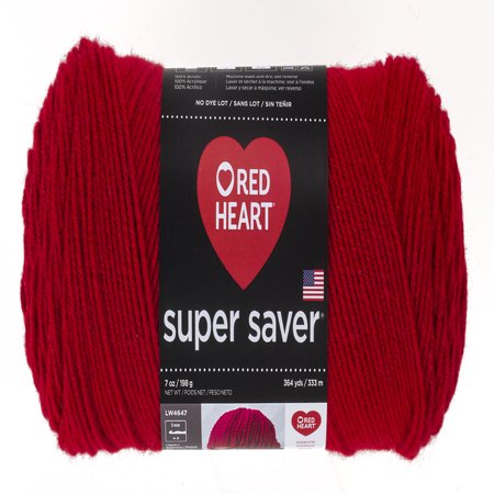 Pink Heart Boutique - Red Heart Super Saver Acrylic Economy Cherry Red Yarn, 1 Each