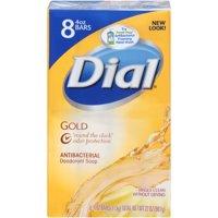 Dial Antibacterial Deodorant Bar Soap, Gold, 4 Ounce Bars, 8 Count