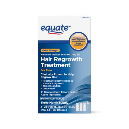 Equate Men's Minoxidil Hair Regrowth Treatment for Men, 3-Month (Best Product For Hair Loss Treatment)