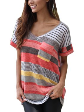 OUMY Women Striped Plus Size T Shirt Tops S-5XL