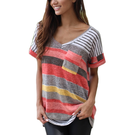OUMY Women Striped Plus Size T Shirt Tops - Cleavage T Shirts