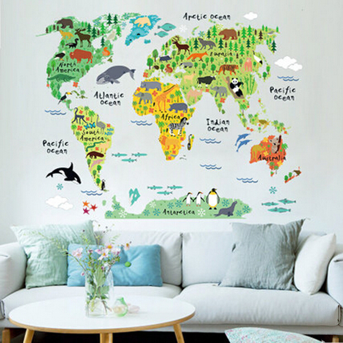 Colorful World Map Kids Room Office Wall Sticker Wallpaper Decals Nursery  Decor