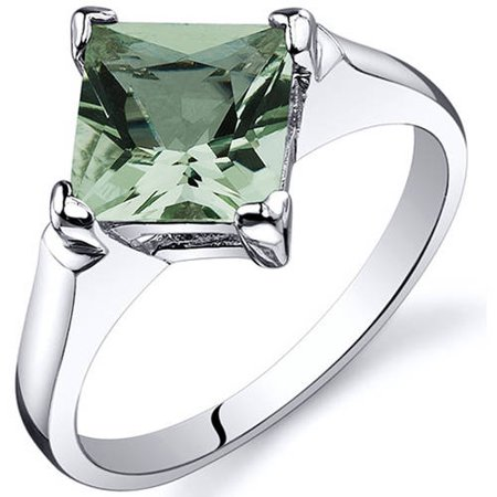 Oravo 1.50 Carat T.G.W. Green Amethyst Rhodium-Plated Sterling Silver Engagement Ring - Glow In The Dark Engagement Ring