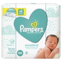 Pampers Baby Wipes Sensitive 3X Refill (Tub Not Included) 192 Count