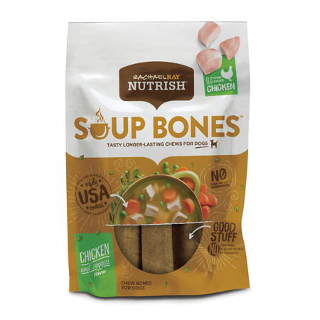- Rachael Ray Nutrish Soup Bones Dog Treats, Chicken & Veggies Flavor, 6 count