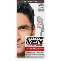 Just For Men AutoStop, Easy No Mix Men's Hair Color with Comb-In Applicator, Real Black, Shade A-55