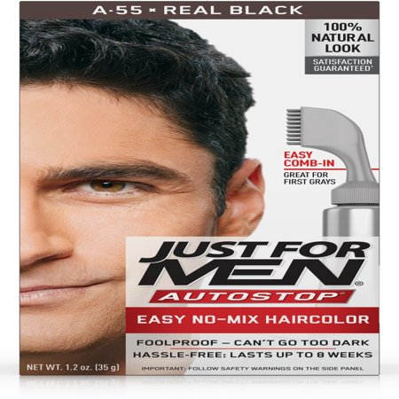 Just For Men AutoStop, Easy No Mix Men's Hair Color with Comb-In Applicator, Real Black, Shade A-55 - Brick Color