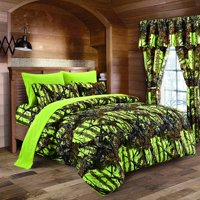 Lime Camouflage TWIN SIZE 5pc Comforter, Sheet, Pillowcases, and Bed Skirt Set - Camo Bedding Sheet Set For Hunters Teens Boys and Girls